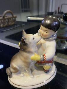 Russian Lomonosov Eskimo Boy With Huskie Dog