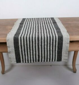 100% Linen Table Runner / 100% European flax / heavy striped Provence country