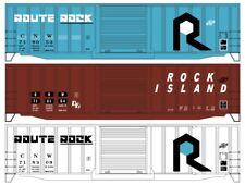 H0 Accurail - 8112- 50' Exterior Post Steel Boxcar 3-Car Set - Rock Island & CNW