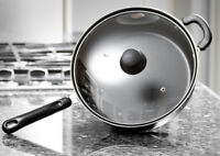 """Chef's Deep Carbon Steel 11"""" Non Stick Chicken Fryer Saute Pan With Glass Lid"""