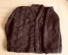New Hand Knitted Boys Brown Patterned cardigan size 18-24 months
