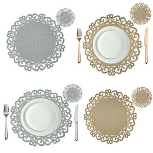 Round Placemats and coasters Dining Table  Set Chargers Washable Silver Gold