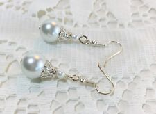 Bridal Wedding Pierced Earrings White Glass Pearl Ball Beads Silvertone Brides