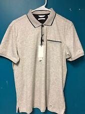Calvin Klein Polo Shirt Liquid Touch Light Grey Men's Size S NWT $69.50