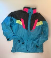 Vtg 80s 90s NEVICA Colorblock NEON Blue Mens 42 Large SKI Snow Suit Jacket Coat