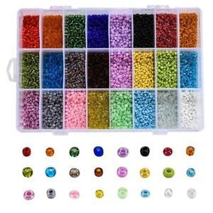 2880-19200pcs 24 Colors Mixed Types Glass Seed Beads DYI Box Set 2-4mm USA
