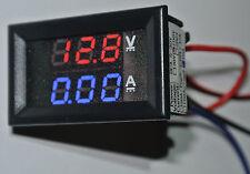 LED Panel Voltmeter Amperemeter 100V 10A DC 2x3Stellig Kalibrierbar Auto Range
