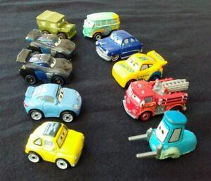 Lot of (10) Disney Pixar CARS Mini Racers Die Cast Metal Vehicles Mattel Toys