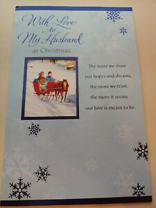 """Christmas Card, American Greetings, """"With Love to My Husband at Christmas"""", New"""