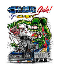 """Rat Fink """"Chevelle Guts"""" White Tee Shirts 8121 Front Print"""
