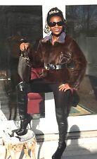 Mint Designer Reversible to suede Sable brown Mink Fur Coat jacket bolero S 0-8