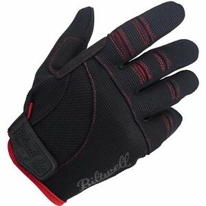 NEW BILTWELL MOTO BLACK/RED MOTORCYCLE GLOVES HARLEY CRUISER VICTORY ALL SIZE