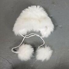 Vintage Kids Faux Fur Bonnet Hat white Fuzzy w/Pompoms Victorian Winter Wear