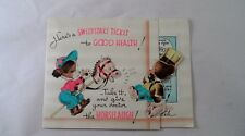 1940s Rust Craft Get Well Card Sweepstake Ticket To Health Bear Hobby Horse Pup