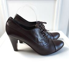 JONES Retro Victorian Granny Brown Leather Boots Lace up Heels Shoes Sz 6.5 / 40
