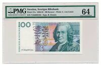 SWEDEN banknote 100 Kronor 1987 PMG MS 64 Choice Uncirculated grade