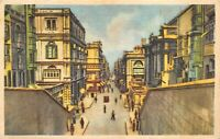 Malta, Valletta, Kingsway -  Illustrated Vintage POSTCARD
