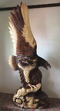 Hand-Crafted Carved Wood FLYING EAGLE Statue AMERICANA Carving Art 7' Sculpture
