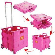 Nouveau Rose 25 kg Pliable Shopping Chariot Stockage Panier Coffret Caisse Voiture Van Camping