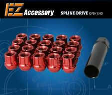 20 Pc Set Open End Spline Drive Lug Nuts | Red | 1/2"