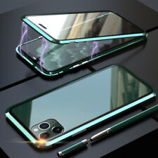 Vidrio templado lado Doble Funda teléfono 360 ° adsorción magnética Marco de metal caso