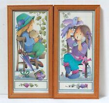 2 Illustrations encadrées Jaklien vintage 1970