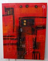 Quadro astratto moderno arredo cm 60x80 dipinto tela materico rosso caldo