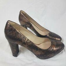 Clarks Leather Bronze Court Shoes Heels Size UK 6 EUR 39.5