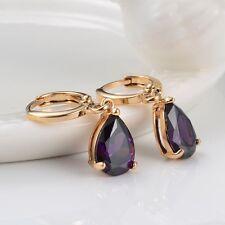 Women's Earrings 18k Yellow Gold Filled Purple Wedding Dangle Fashion Jewelry