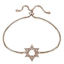 Rose Gold Tone over 925 Silver Cubic Zirconia Star of David Adjustable Bracelet