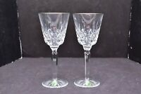 """Waterford Crystal PLATINUM LISMORE TALL Water Goblets SET OF 2  Pair 7.5"""" glass"""