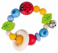 Heimess TOUCH RING RATTLE ELASTIC LADYBIRD I Baby Wooden Toy BN