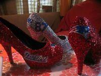 Women New England Patriots/chargers football jersey shirt high heel shoes