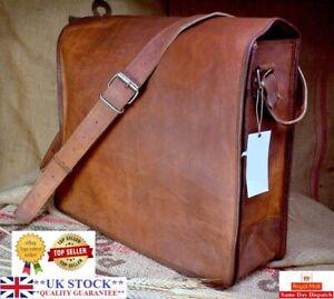 Vintage Goat Leather messenger Real satchel genuine Laptop bag brown briefcase