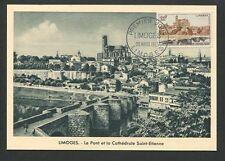 FRANCE MK 1955 LIMOGES CATHEDRAL BRIDGE MAXIMUMKARTE CARTE MAXIMUM CARD MC d8895