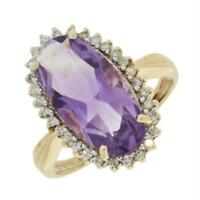 Ladies Cluster Ring 9ct Yellow Gold Amethyst And Diamond CH889