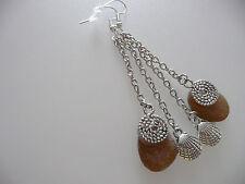 Vintage Art Deco Style Cornish Amber Sea Glass & Shell Silver Long Earrings