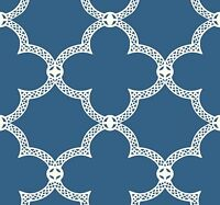 White Geometric Lattice on Cobalt Blue Background on Sure Strip Wallpaper HS2060