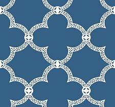 White Geometric Lattice on Cobalt Blue Background on Sure Strip Wallpaper HS2060