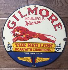 """GILMORE GASOLINE"" PORCELAIN ADVERTISING SIGN, 12"" INCH"