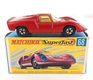 .NICE VINTAGE MATCHBOX SUPERFAST SERIES 68 PORSCHE 910 DIECAST CAR +ORIGINAL BOX