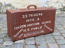 More details for 1940s vintage suitcase with painted scottish regiment military id ww2
