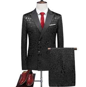 2 Pcs Mens Coats+Pants Suits Wedding Slim Fit TailoredCollar Wedding Office Sz