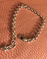 """BRIGHTON Starter Rolo MED/LRGE Links Charm Bracelet LEGACY Excellent 8.5"""""""