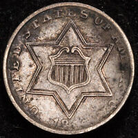 1855 3C US 75% Silver Three Cent - TYPE II TRIME - EXTRA FINE (EF) CLASHED DIE