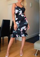 Black Floral Frill Bodycon Midi Wiggle Evening Xmas Party Pencil Dress £65