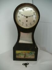 VINTAGE WALL CLOCK COLONIAL SCENE  WITH MIRROR AND KEY MADE IN USA WORKS!