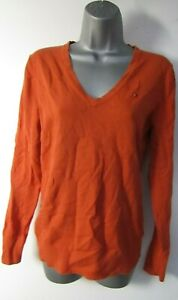 Ladies Tommy Hilfiger Jumper Size L 14/16 Orange V Neck Long Sleeve Pullover