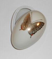 Vintage Porcelain Ceramic Cream Colored Egg Box with Gold Butterfly Stencil