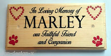 Personalised In Loving Memory Plaque / Sign - Memorial Grave Paw Print Dog Cat